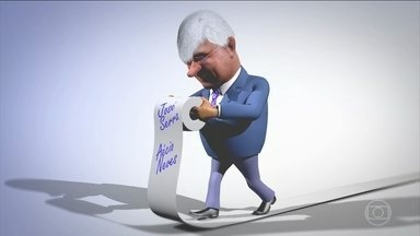Rodrigo Janot lê a lista de políticos de seu papel higiênico - Na lista, há nomes como Aécio Neves, Lula, José Serra, Dilma, entre outros. O problema é que ela é tão longa que não dá para terminar!!!