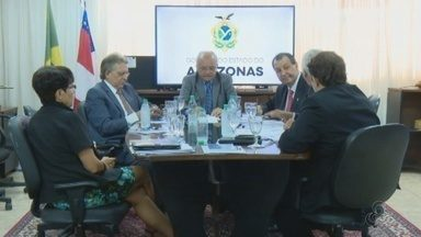 Parlamentares cobram conclusão de obras que devem garantir segurança energética do AM - José Melo e parlamentares se reuniram com representante do Ministério de Minas e Energia.
