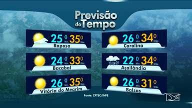Veja a previsão do tempo no Maranhão - Quinta-feira (13) começa com sol entre nuvens, mas deve chover no final do dia na maioria das regiões maranhenses.