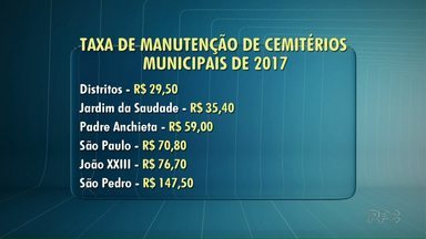 Boletos das taxas de manutenção dos cemitérios vão ser entregues após o dia 15 de maio - O boleto é anual e precisa ser pago até o dia 07 de junho.