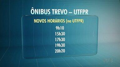 Mais linhas de ônibus vão começar a circular na região da UTFPR, em Guarapuava. - Serão cinco novos horários. As mudanças por tem experimental começam no dia 15 de maio