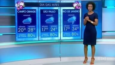 Confira a previsão do tempo em todo o Brasil para este domingo (14) - O Dia das Mães vai ser chuvoso em parte do país.