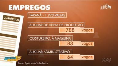 Dez cidades que mais geram emprego no país ficam no Paraná - Esse é o resultado da pesquisa do Ipardes nos primeiros quatro meses desse ano. Veja quais vagas são ofertadas nas Agências do Trabalhador de Curitiba e Região Metropolitana e também sobre as inscrições para o concurso do IBGE.