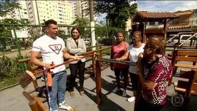 Santos tem praça que proporciona atividades físicas gratuitas a idosos - Estudo recente sobre longevidade classifica a cidade no litoral paulista como a melhor para se viver depois dos 60 anos.