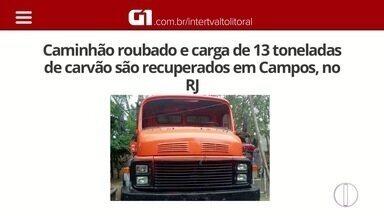 Caminhão com 13 toneladas de carvão que havia sido roubado é recuperado em Campos, no RJ - Veículo havia sido roubado na terça-feira passada.