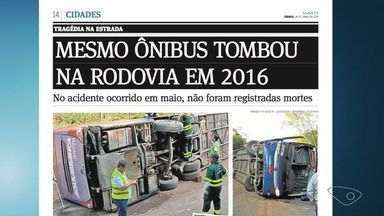 Ônibus envolvido em acidente com 22 mortos no ES tombou em 2016 a 30 km da tragédia - O ônibus de placa ODF 8302 e número de identificação 24770, de São Paulo a Vitória, aparece em foto postada por vítima, 2017, e na foto do acidente em 2016.