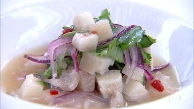 Jefferson Rueda prepara Ceviche de Porco - Chef mostra receita inusitada com pé, rabo e toucinho!