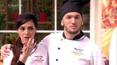 Claudia Ohana e Diego Hypolito falam sobre a primeira Panela de Pressão - Participantes do Super Chef Celebridades perderam a prova e disputam a preferência do público para permanecer na disputa