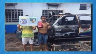 Suspeitos de atear fogo em viatura são presos no AM - Caso ocorreu no interior do estado.