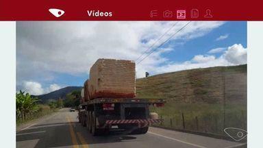 VC no ESTV: motoristas ficam preocupados com transporte de rochas em estradas do ES - Polícia Federal explicou que a amarração das pedras é complexa e segue normas.