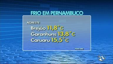 Apac registra 11,8°C em Brejão, menor temperatura do ano no Agreste de PE - Além de Brejão, Garanhuns (13,8ºC) e Caruaru (15,5ºC) também registraram baixas temperaturas.