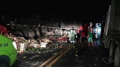 Duas pessoas morrem e uma fica ferida em acidente na BR-101, em Rio Novo do Sul, ES - Trânsito só foi totalmente liberado na BR-101 Sul por volta da 8h.