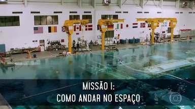 Conheça a primeira missão de Anna Paulla na NASA: como andar no espaço - Chris mostra detalhes desse laboratório para Anna Paulla e Luciano Huck e explica a importância desse treinamento.