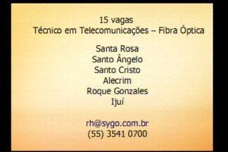 Oportunidade de emprego na Região - Empresa disponibiliza 15 vagas para técnico em telecomunicações fibra ótica.