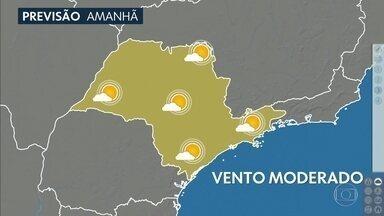 Confira a previsão do tempo para a quarta-feira (2) em São Paulo - A previsão é de sol e sol de verdade, o dia todo, em todo estado. E com ventos moderados também. Essa mudança é por causa de uma frente fria, que vai se aproximar.