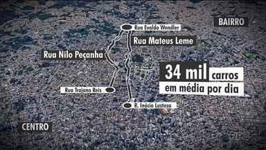 Veja como fica o trânsito nas Ruas Mateus Leme e Nilo Peçanha, com o binário - As obras para o novo binário já começaram a partir da Rua Mateus Leme.