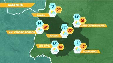 Temperaturas vão cair nesta quinta-feira - O dia começa com mínima de 12 graus em Cascavel e 9 em Guaraniaçu.