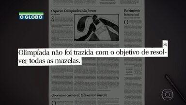 Ex-prefeito Eduardo Paes publica artigo no jornal O Globo - Ele defendeu o legado da olimpíada e disse que as obras não foram superfaturadas. Durante o Bom dia Rio, Eduardo Paes comentou a prisão do seu secretário de Obras.
