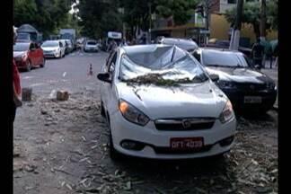 Táxi fica destruído ao ser atingido por parte de fachada de prédio em Belém - Uma loja de material de construção também foi atingida.