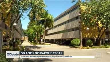 Projeto de habitação em Guarulhos continua atual depois de 50 anos - Um projeto inovador de habitação popular está completando 50 anos e continua tão atual quanto na época em que foi lançado. É o Parque Cecap, que deu origem a um dos bairros mais tradicionais de Guarulhos.