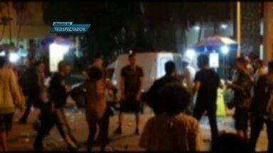 Festa de alunos da UnB termina em confusão, no 408 Norte - Moradores reclamaram da festa de calouros que, segundo a PM, reuniu 1 mil estudantes.