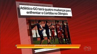 Atlético-GO terá quatro mudanças para enfrentar o Coritiba - Jonathan, William Alves, Igor e Diego Rosa são as novidades da equipe.