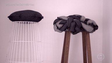 Angélica conhece objetos feitos pelo Projeto Arrastão - Jovens desenvolvem projetos de design com o acompanhamento dos irmãos Campana