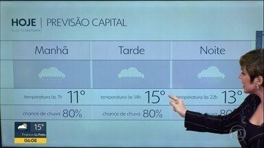 Previsão é de chuva na Grande SP nesta segunda-feira (21) - Na capital, a máxima prevista é de 15°C.