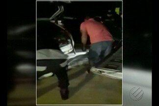 A PRF flagrou carro transportando dois bezerros na BR-155, no sudeste do Pará - O motorista do carro fugiu quando a polícia abordou o veículo.