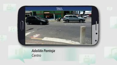 Tô Na Rede: internauta manda fotos de faixas de pedestres apagadas no Centro de Macapá - Fotos foram enviadas pelo internauta Adildo Pantoja. Essas faixas estão bem apagadas e algumas até sumiram. Esse trecho fica no cruzamento da rua Tiradentes, com a Avenida Antônio Coelho de Carvalho.
