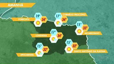 A quarta-feira deve registrar 34 graus em várias cidades do Estado - O alerta para a região norte do Paraná é a baixa umidade relativa do ar.