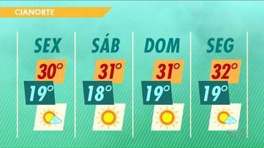 Temperaturas caem um pouco, mas ainda faz calor nesta sexta-feira - No Noroeste, as máximas devem passar dos 30 graus em todas as cidades.