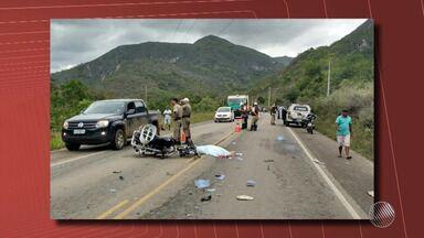 Acidente entre caminhão e moto deixa um morto na região de Jacobina - Os dois veículos bateram de frente.