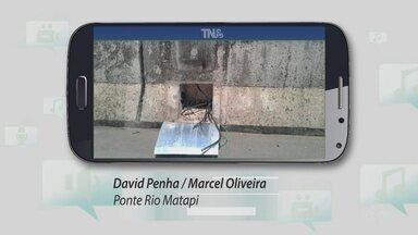 Tô Na Rede: internautas mostram que fiação da ponte do rio Matapi está sendo furtada - As imagens foram registrados por David Penha e Marcel Oliveira. A Setrap informou que espera uma licitação ficar pronta para que os fios sejam novamente comprados.