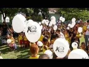 Creche de Valadares faz homenagem às vítimas de ataque em Janaúba - Instituição tem o mesmo nome da escola da cidade do Norte de Minas, onde ataque de vigia matou crianças e uma professora; balões foram soltos em homenagem aos mortos da tragédia.