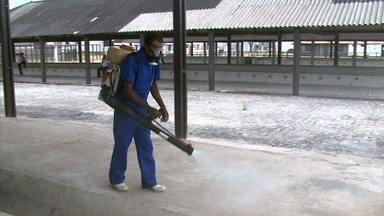 Parque da Pecuária ganha últimos ajustes para receber animais da Expoagro - Foi realizada uma desinfecção no local, para garantir a saúde dos bichos.