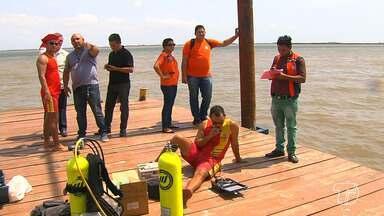 Balsa e terminal Fluvial Turístico de Santarém passam por avaliação na estrutura - Corpo de Bombeiros fizeram mergulhos no local. A Defesa Civil também verificou a estrutura do Terminal.