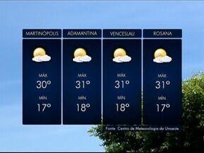 Meteorologia prevê tempo aberto na região de Presidente Prudente - Confira como ficam as temperaturas nesta terça-feira (24).