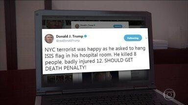Donald Trump defende pena de morte para o terrorista que matou oito em Nova York - Sayfullo Saipov atropelou e matou oito pessoas em Nova York, na segunda feira (30). O que enfureceu o presidente foi o pedido de Sayfullo Saipov: que pendurassem no quarto dele no hospital uma bandeira do Estado Islâmico.