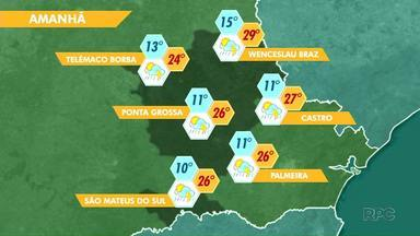 Tem previsão de chuva pra esta sexta-feira (03) na região de Ponta Grossa - As temperaturas sobem durante o dia e a chuva vem durante à tarde e início da noite.