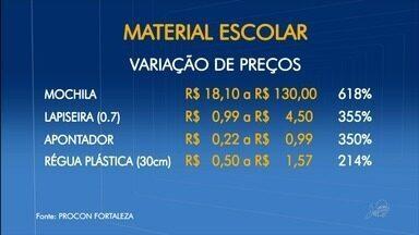 Mesmo material escolar pode ser até sete vezes mais caro em comércios de Fortaleza - Confira mais notícias em G1.Globo.com/CE