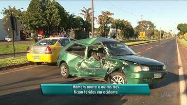 Homem morre e outros três ficam feridos - O motociclista teve fraturas, mas está fora de risco.