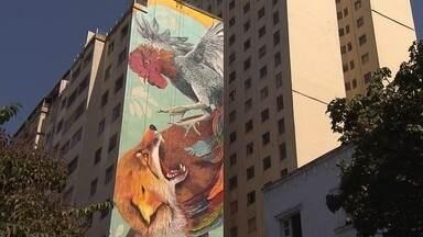 Artistas pintam painéis gigantes em prédios do Centro de Belo Horizonte - Conheça quem está por trás de dois dos trabalhos