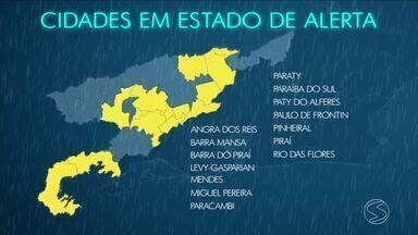 Segundo relatória da Defesa Civil, 19 cidades da região estão em estado de 'grande perigo' - Isso por causa da previsão de um alto volume de chuva.