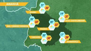 Previsão de chuva para esta terça-feira - Temperaturas ficam altas.