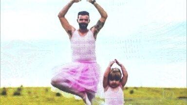 Metalúrgico se vestiu de bailarina para agradar filha - Herbert fez ensaio fotográfico para decorar a festa de três anos da pequena Meline