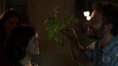 Estela se derrete com gesto romântico de Juvenal - O lapidador surpreende a irmã de Gael durante à noite