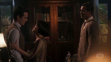 Edgar e Olímpia se despedem de Vicente - Olímpia pede para o irmão cuidar-se
