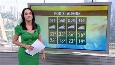 Confira a previsão do tempo para todo o Brasil nesta quinta-feira (14) - Previsão de chuva volumosa entre norte do Espírito Santo e o sul da Bahia. Frente fria causa chuva no Rio Grande do Sul e Santa Catarina.