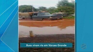Piscinas de lama deixam moradores ilhados em Várzea Grande - Piscinas de lama deixam moradores ilhados em Várzea Grande